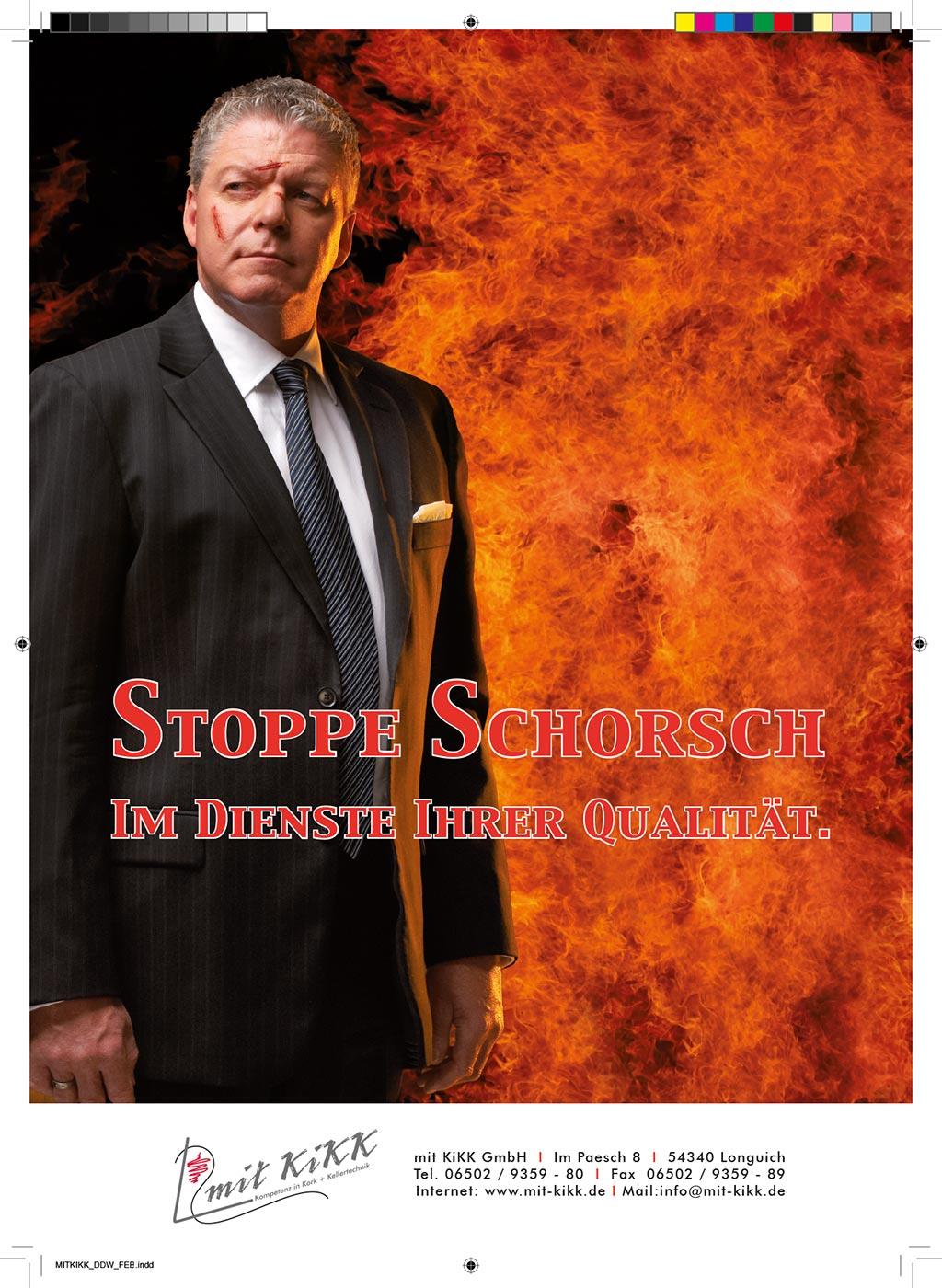 Webekampagne für Mit Kikk GmbH, Stoppe Schorsch mit Feuer im Hintergrund, Konzept, Fotografie, Layout: Atelier Yaph Trier