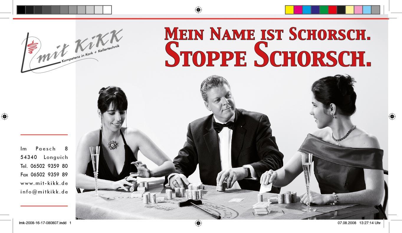 Webekampagne für Mit Kikk GmbH, Stoppe Schorsch im Kasino, Konzept, Fotografie, Layout: Atelier Yaph Trier
