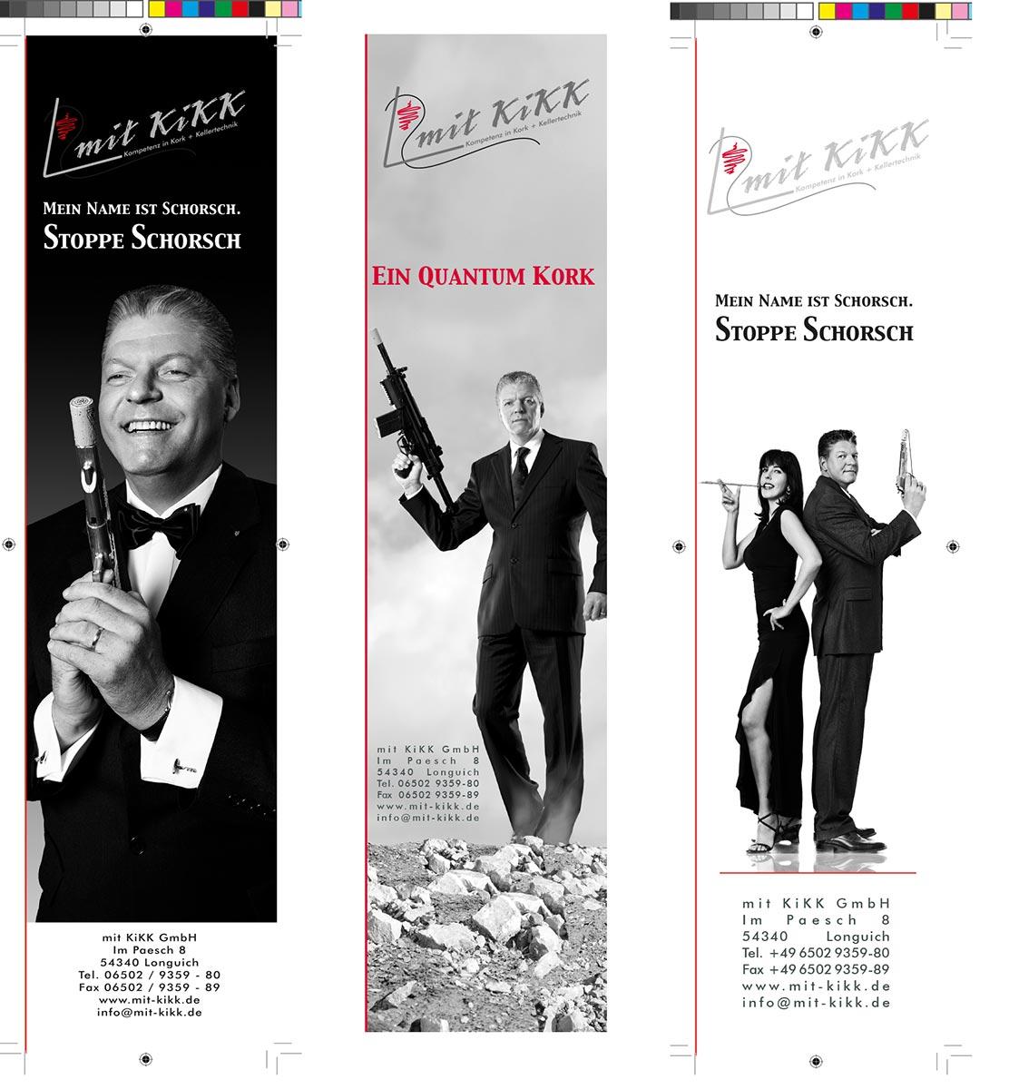 Webekampagne für Mit Kikk GmbH, James Bond, Konzept, Fotografie, Layout: Atelier Yaph Trier