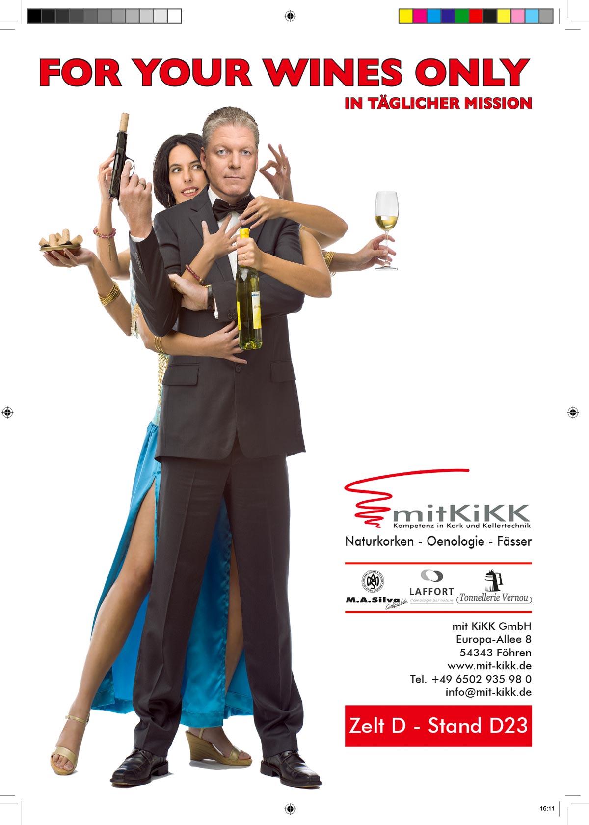 Webekampagne für Mit Kikk GmbH, James Bond und Bond Girl Octopussy, Konzept, Fotografie, Layout: Atelier Yaph Trier